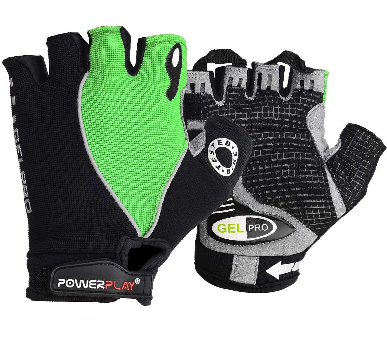 Велорукавички PowerPlay 5019 A Чорно-зелені M - 144342