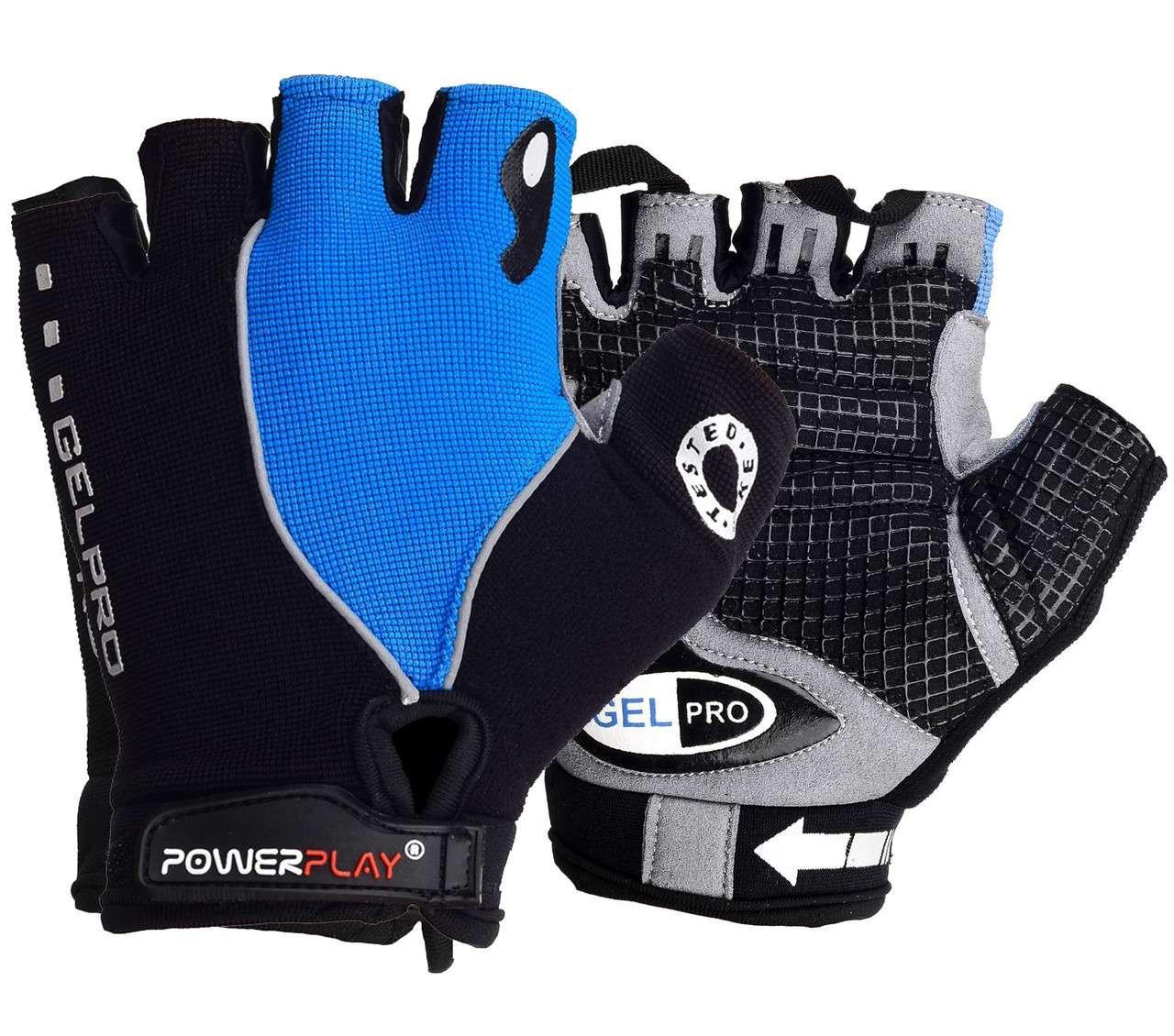 Велорукавички PowerPlay 5019 C Чорно-блакитні L - 144350