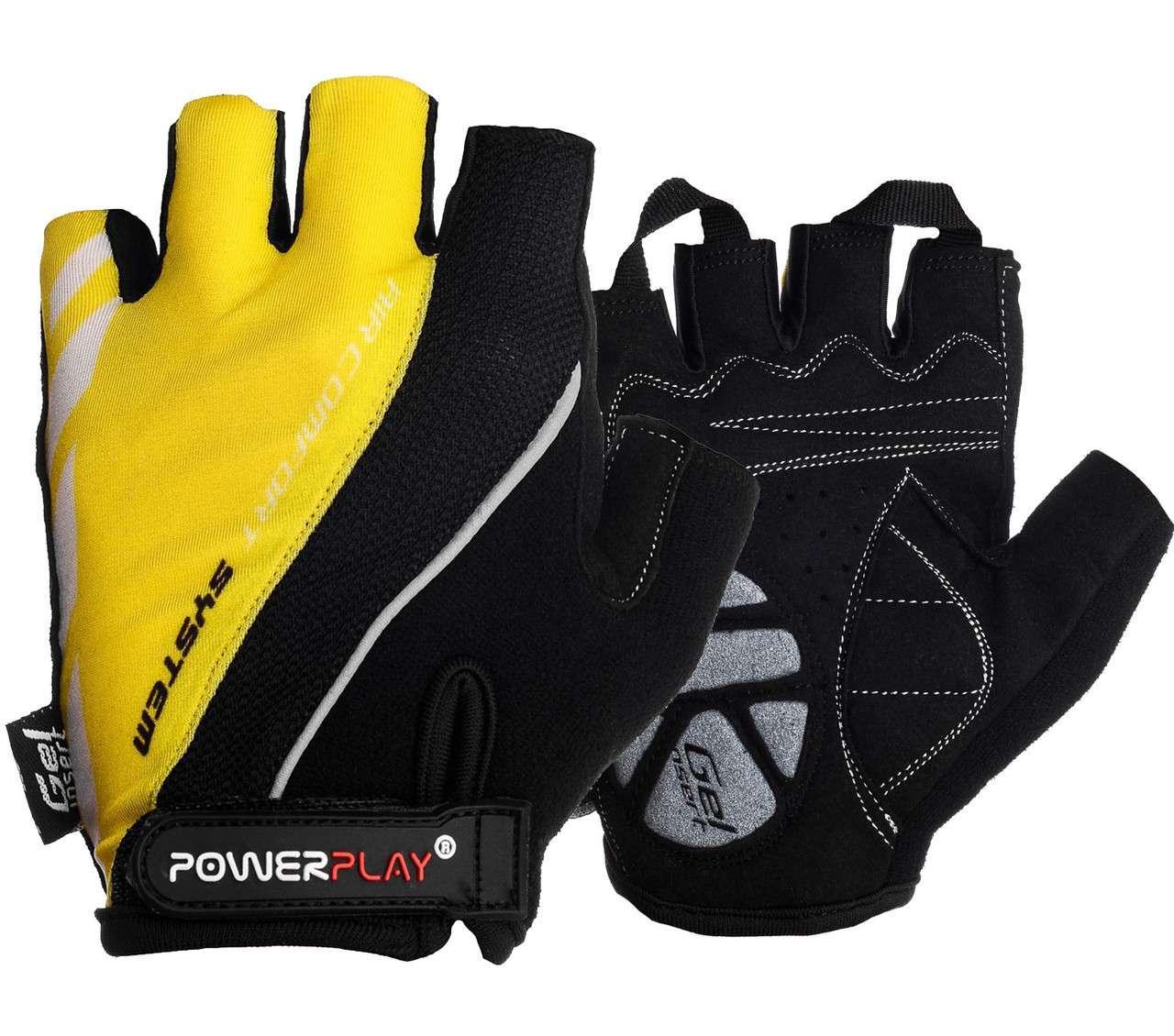 Велорукавички PowerPlay 5024 D Чорно-жовті S - 144622