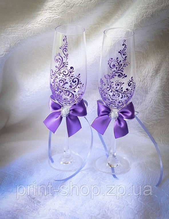 Келихи на весілля фіолетового кольору