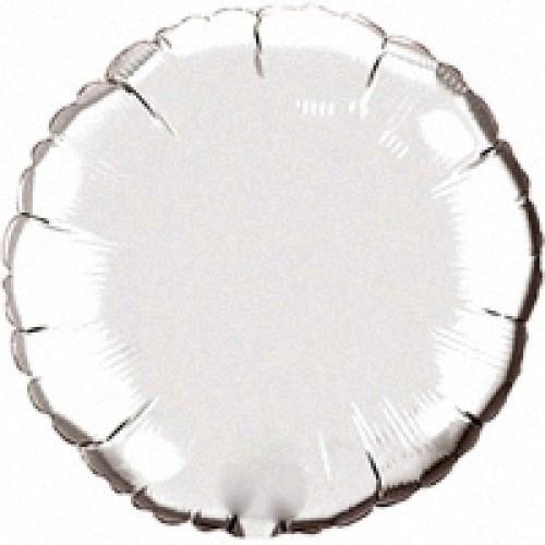 """Фольгированный шар Круг серебро металлик 18""""(45 см)"""