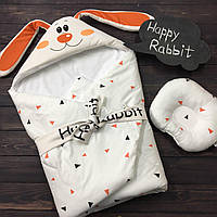 """Осенний конверт-одеяло для новорожденной девочки """"Зайка"""" (подушка в подарок), фото 1"""