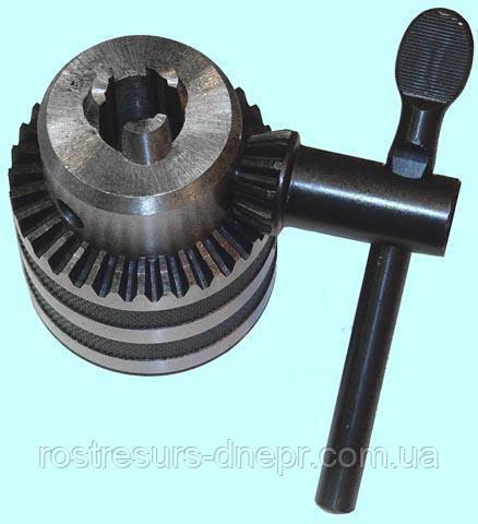Патрон сверлильный ПС 13 (1.5-13) мм под резьбу М12х1.25, Китай с ключом