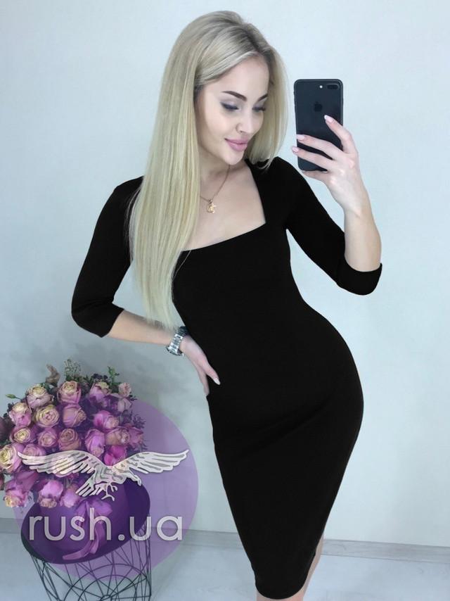 Платье облегающее с квадратным вырезом