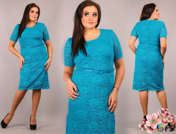 """Шикарное женское платье из """"Кружево на подкладке из ткани масло"""" 52 размер баталы, фото 2"""