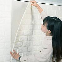Декоративная стеновая 3Д панель самоклейка под кирпич белая 77*70 см 7 мм NNDesign