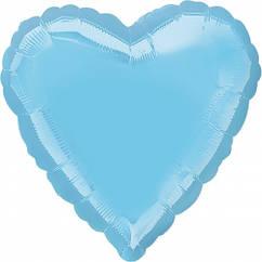 """Сердце фольгированное 18""""(45 см) голубое"""