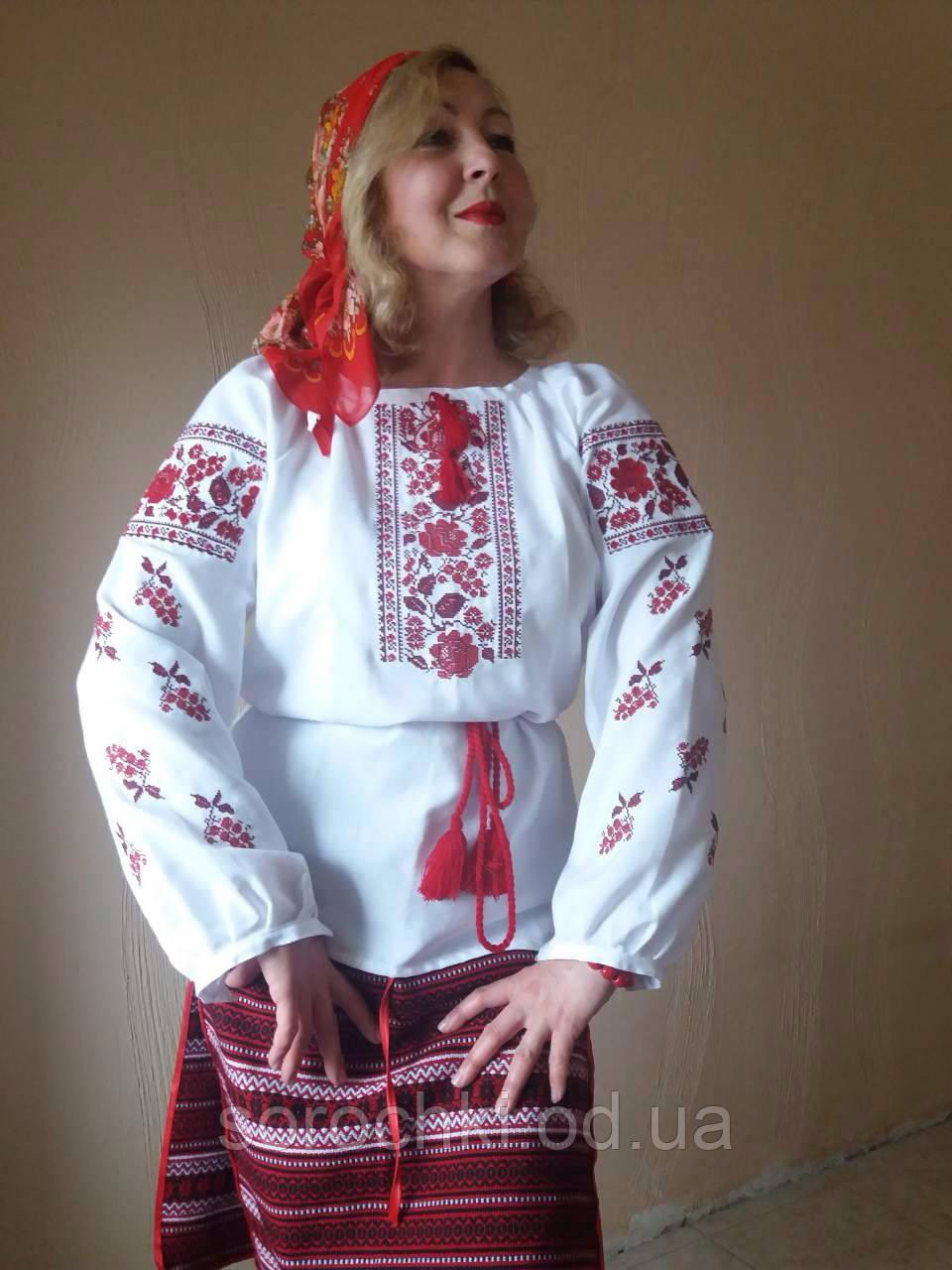 """Блузка женская , белая , вышивка  цветы  """"маки с калиной"""" материал  шифон."""