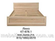 Кровать двуспальная с ламелями Корвет КТ-678 (БМФ) 1660х2070х830мм акация
