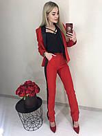 Костюм женский двойка пиджак и брюки с лампасами /красный, S, M, ft-2018/