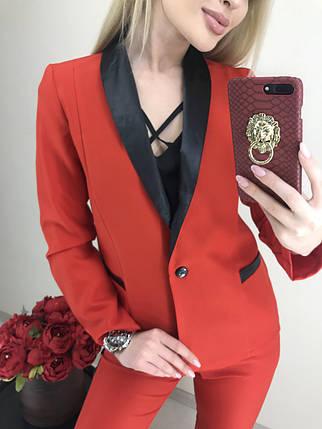 Костюм женский двойка пиджак и брюки с лампасами /красный, S, M, ft-2018/, фото 2