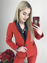 Костюм женский двойка пиджак и брюки с лампасами /красный, S, M, ft-2018/, фото 3