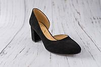Замшеві жіночі туфлі на каблуку 36р.
