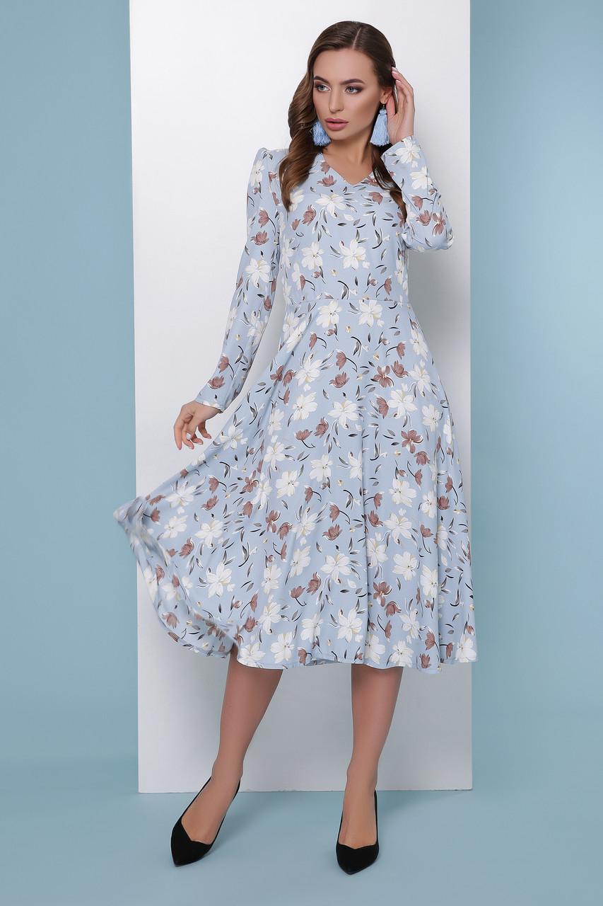 e8bbf9a6bae Красивое платье миди с длинными рукавами и цветочным принтом голубое -