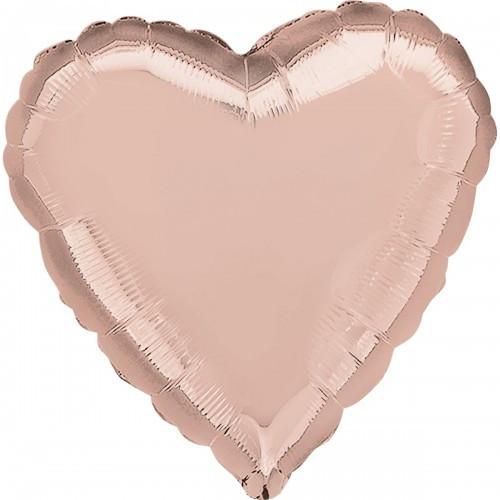 """Сердце фольгированное 18""""(45 см) розовое-золото металлик"""