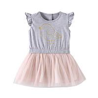Хлопковое детское платье для девочки Птица Jumping Beans