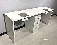 Однотумбовый маникюрный стол с вытяжками и ультрафиолетом, для двух мастеров, Модель V370 белый