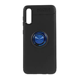 Чехол накладка для Samsung Galaxy A70 A705FD силиконовый с магнитным кольцом, Черный с синим