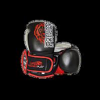 Боксерские перчатки Power Play 3006 Lion (Черные, Синие, Красные) Взрослая, Искусственная кожа, 12oz, Черный