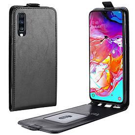 Чехол книжка для Samsung Galaxy A70 A705FD вертикальный флип, Гладкая кожа, черный