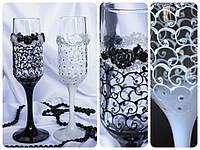 Ажурные свадебные бокалы для жениха и невесты