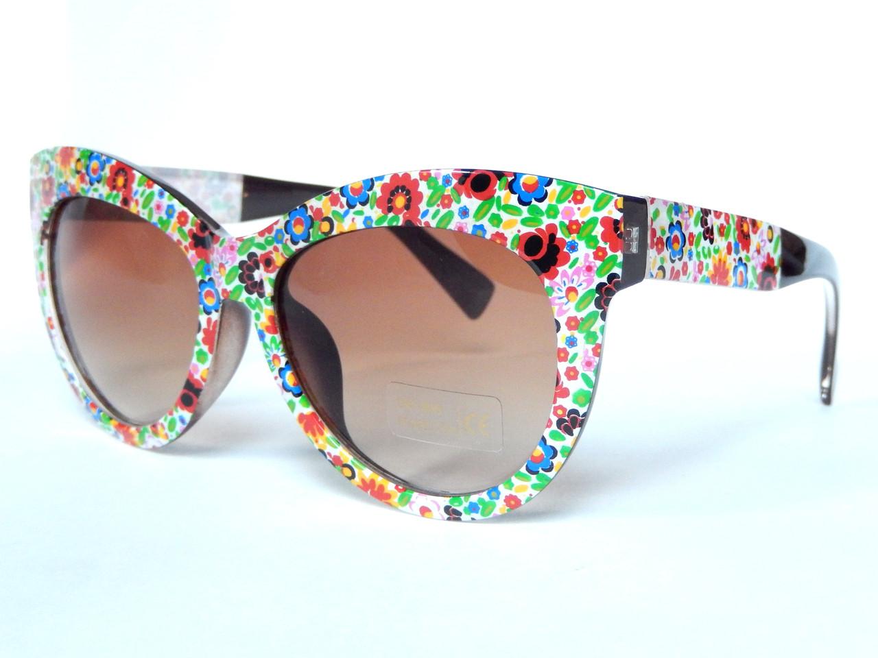 Солнцезащитные очки в стиле D&G цветочная мозаика. шоколад