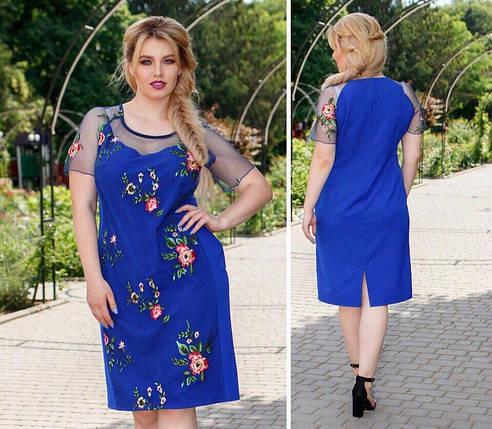 """Шикарное женское платье ткань """"Костюмная""""  56 размер батал, фото 2"""