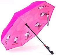 Детский зонт обратного сложения Hello Kitty Pink + чехол, фото 1
