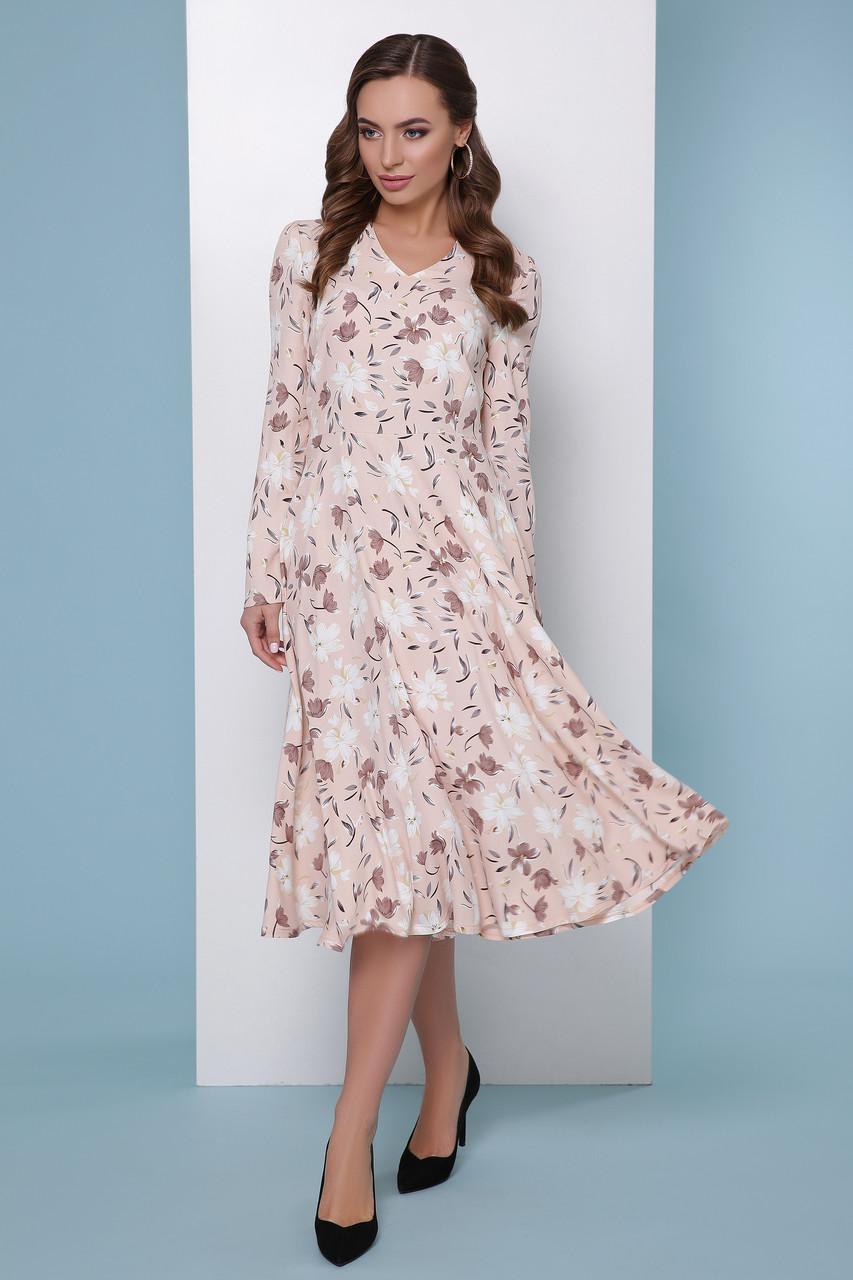 66b6d679e34 Легкое платье миди с длинными рукавами в цветочек пудровое -
