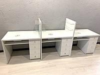 Маникюрный стол с вытяжками, стол для трех мастеров, Модель V371 белый, фото 1