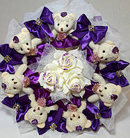 Букет Gift for Soul из мягких игрушек Фиолетово - белый РР 1563
