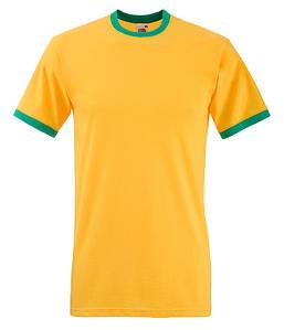 Мужская футболка с манжетами S, AM Солнечно-Желтый / Ярко Зеленый