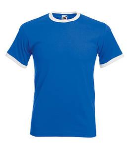 Мужская футболка с манжетами S, KB Ярко-Синий / Белый
