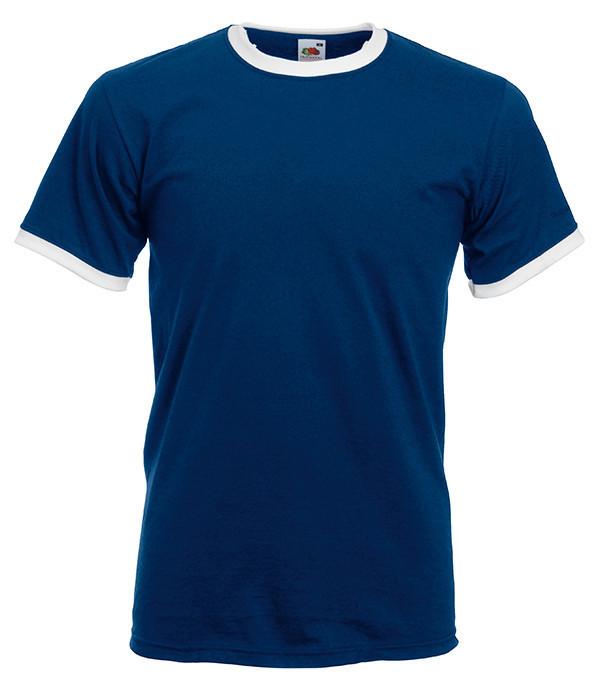 Чоловіча футболка з манжетами XL, 22 Темно-Синій / Білий