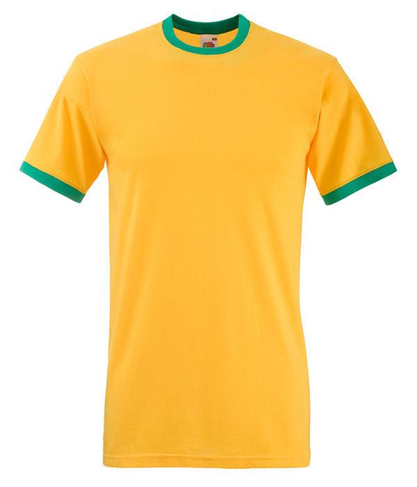 Мужская футболка с манжетами XL, AM Солнечно-Желтый / Ярко Зеленый