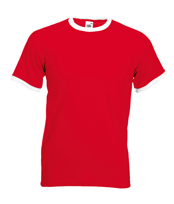 Мужская футболка с манжетами 2XL, RW Красный / Белый
