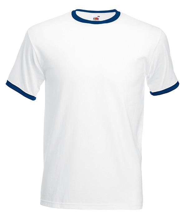 Мужская футболка с манжетами S, ZA Белый / Темно-Синий