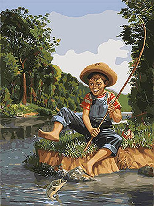 Картина по номерам Маленький рыбак 40 х 50 см (KHO2331)