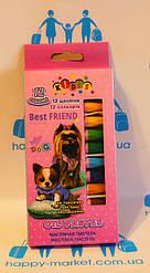 Крейда - масляні олівці 12 кольорів Kidis собачки 7651