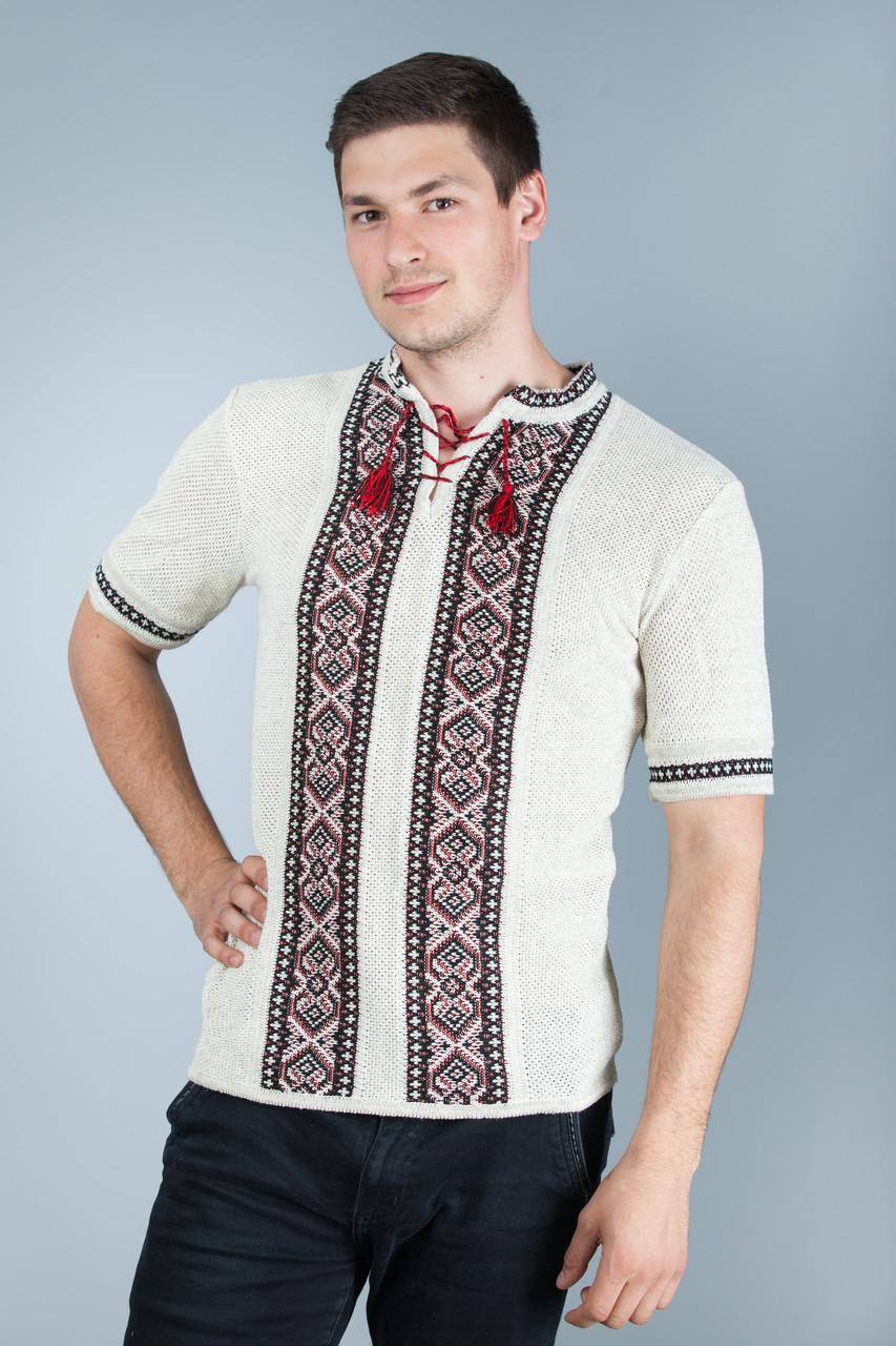 Оригинальная вязаная вышитая рубашка с коротким рукавом