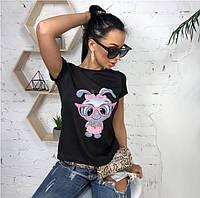 Женская футболка с принтом зайка, фото 1