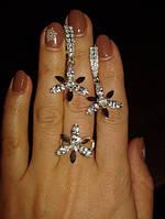 Комплект из серебра с золотыми накладками - Серьги и кольцо