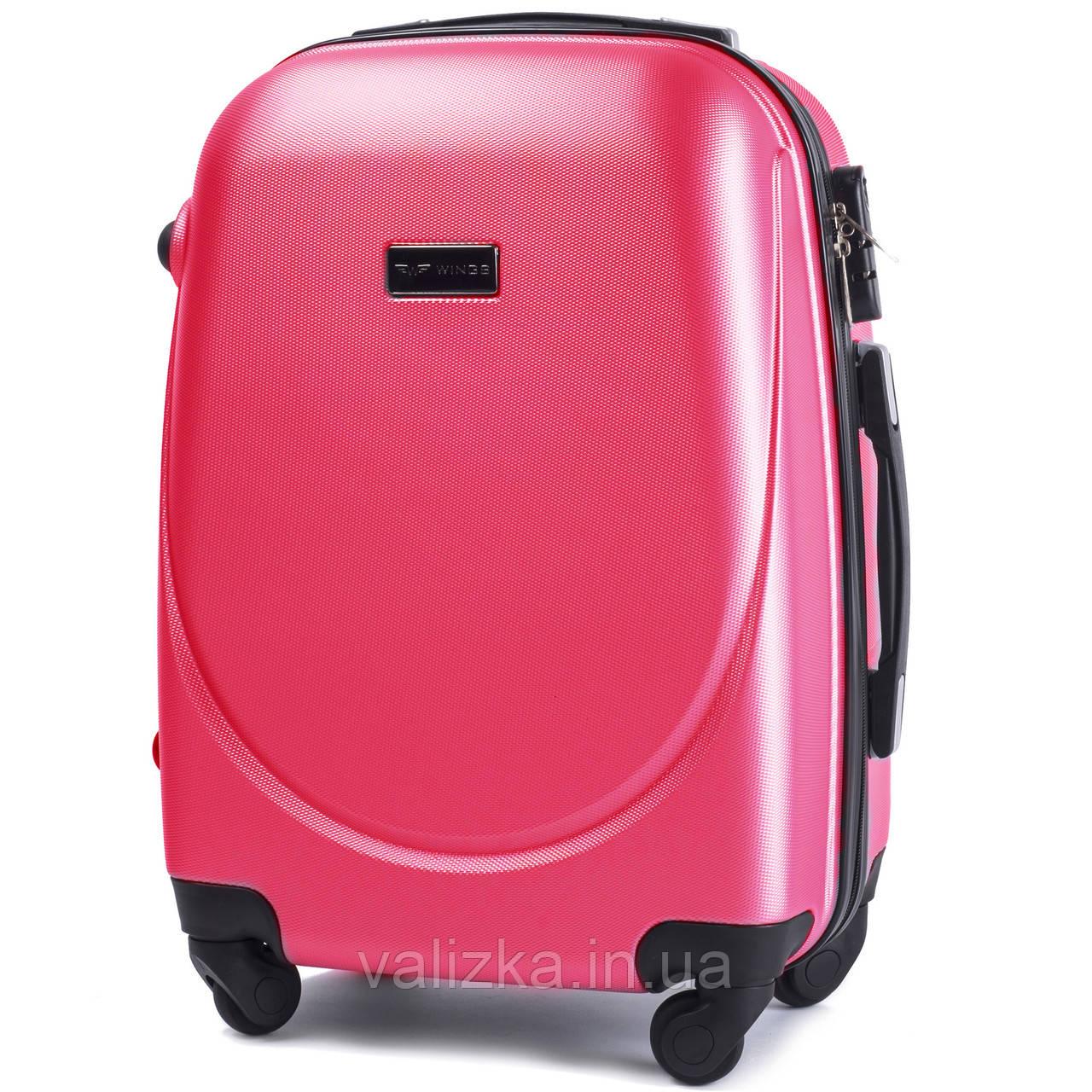 Пластиковый чемодан Wings 310 S+ для ручной клади розово-красный