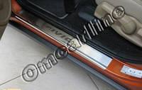 Накладки на пороги Honda civic (2011-....) (хонда цивик) с логотип гравировкой, нерж.