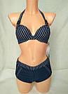 Купальник женский шортики темно-синий в полоску, фото 3