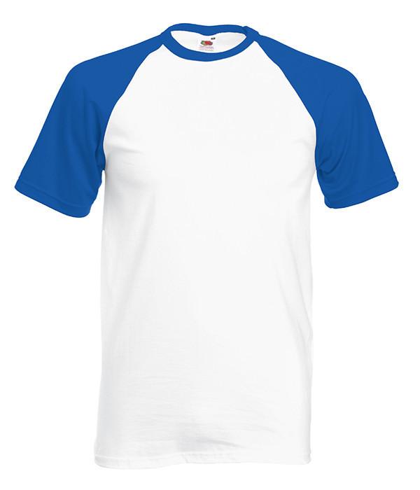 Мужская футболка двухцветная S, AW Белый / Ярко Синий