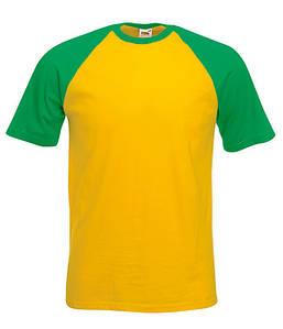 Мужская футболка двухцветная M, AM Солнечно-Желтый / Ярко Зеленый