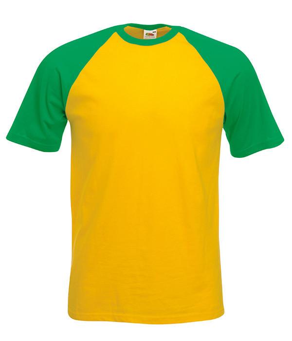 Мужская футболка двухцветная L, AM Солнечно-Желтый / Ярко Зеленый