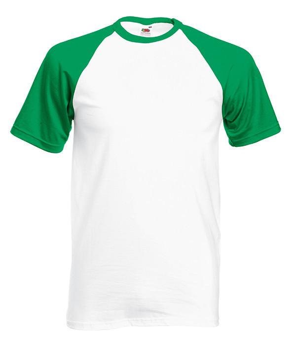 Мужская футболка двухцветная L, WK Белый / Ярко-Зеленый