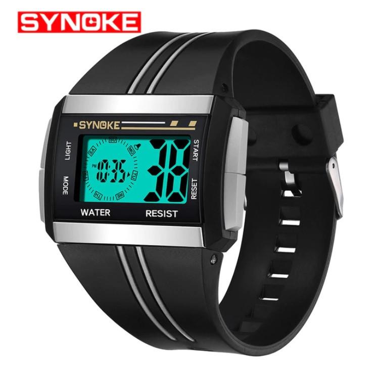 """Стильні спортивні електронні чоловічі годинники """"Synoke"""" (чорний)"""